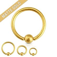 Matt Gold Plated Surgical Steel Captive Bead Ring CBR Universal Body Jewellery