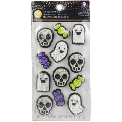 Icing Decorations 12/Pkg-Ghost, Skull & Candy Dot Matrix