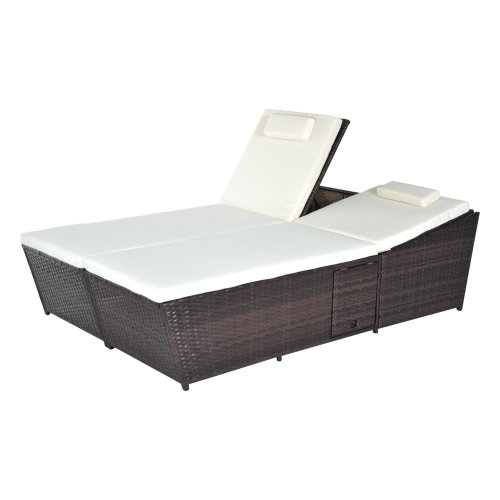 Outsunny 2 Seater Double Rattan Sun Lounger Recliner Bed w/ Cushions - Mixed Brown