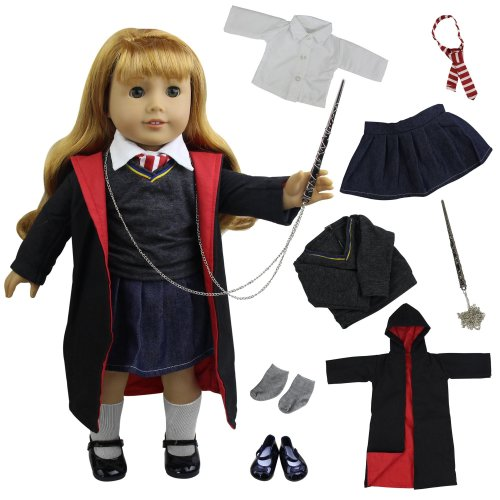 ZITA ELEMENT Magic School Uniform for 18 Inch American Girl Doll Clothes Accessories or Other 45 - 46 cm Dolls Outfits | 8 Items = Shirt, Sweater,...