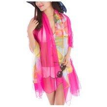 Elegant Chiffon Fabric Beach Towel Shawl Uv-blocking Silk Scarves