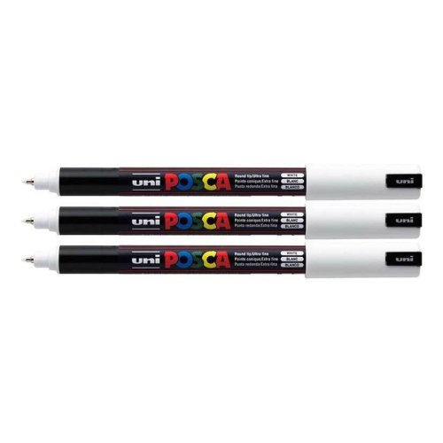 Uni Posca PC-1MR White Colour Paint Marker Pens Ultra Fine 0.7mm Calibre Tip Nib Writes On Any Surface Glass Metal Wood Plastic Fabric (Pack Of 3)