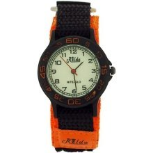 Relda Nite-Glo Quartz Luminous Dial Orange & Black Velcro Girls/Boy Watch REL57