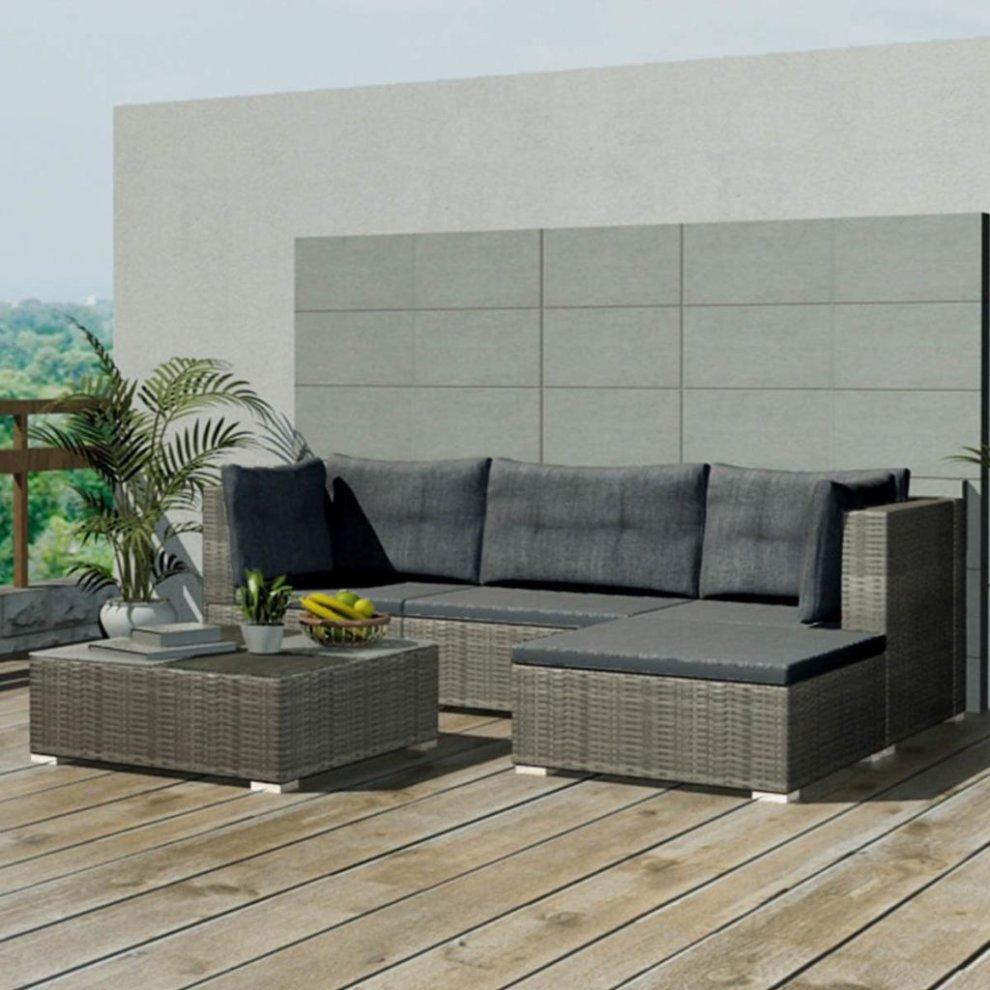 3d372efba61e 42741 vidaXL 14 Piece Garden Sofa Set Poly Rattan Grey (UK/IE/FI/NO Only)  on OnBuy