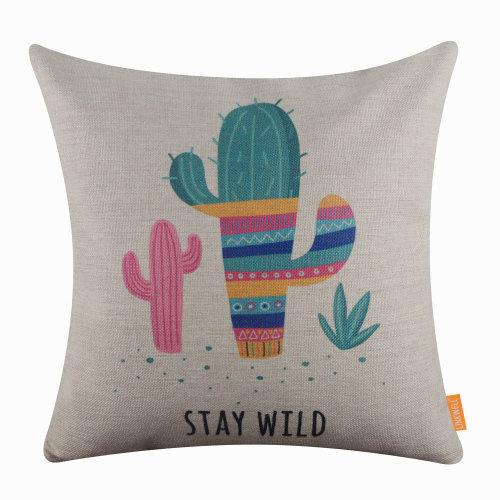 "18""x18"" Summer Cactus Burlap Pillow Cover Cushion Cover"