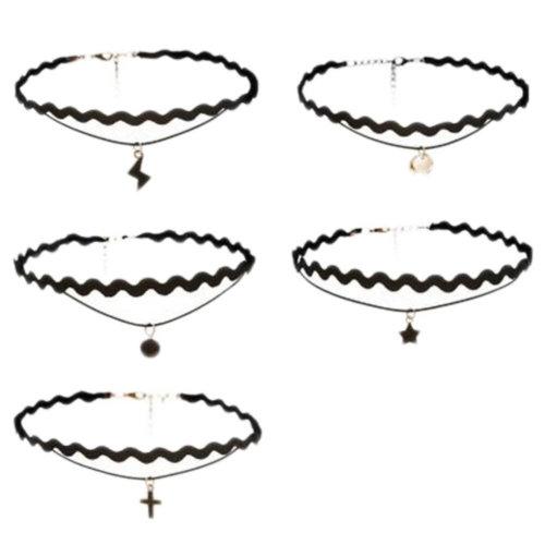 Fashion Chain Collar Neck Ornament Neckband Lace Necklace 5 PCS(E)