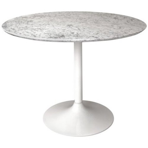 Gensifer Marble Or Granite Round Table Kitchen/ Dining Table With White  Retro Base 70cm Diameter