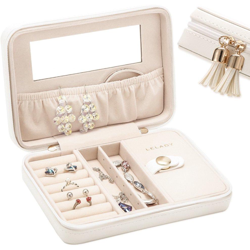 Lelady Jewlry Jewellery Box Small Travel Jewellery Box Case Portable Faux Leather Jewellery Storage Boxes Built In Mirror Women Girls White