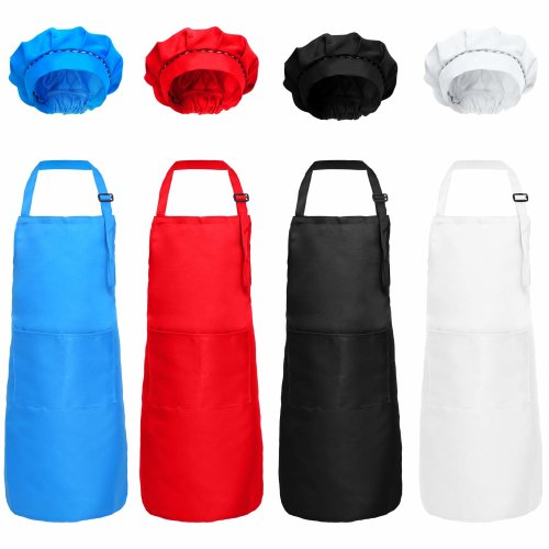 8 Pieces Kids Apron and Chef Hat Set Cotton Adjustable Children's Kitchen Chef Hat with Apron for Cooking and Painting (Black, White, Red, Blue)