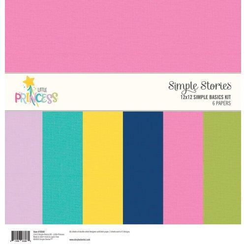 "Simple Stories Basics Double-Sided Paper Pack 12""X12"" 6/Pkg-Little Princess, 3 Designs/2 Each"