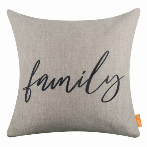 """18""""x18"""" Simple Black World Family Burlap Pillow Cover Cushion Cover"""