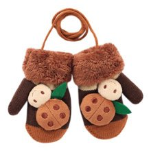 1 Pair Kids' Winter Glove Knitted Mittens With Sling(1-3 Years) Beetle Brown