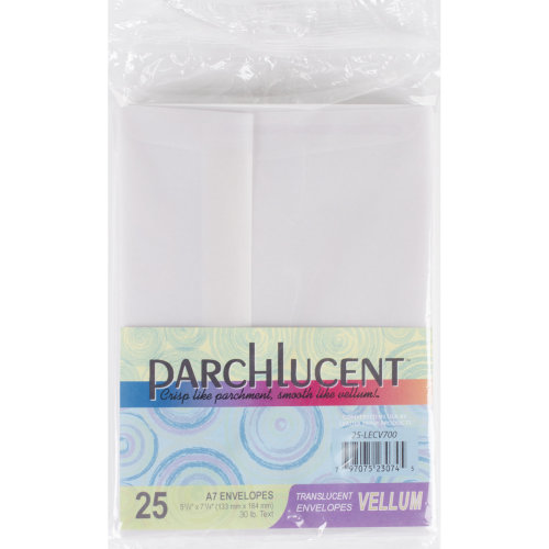 """Leader A7 Parchlucent Vellum Envelopes (5.25""""X7.25"""") 25/Pkg-Clear"""