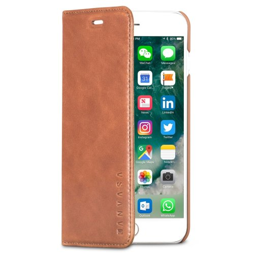 the best attitude bd136 3252e iPhone 7 Plus Leather Case Flip Cover Brown - KANVASA