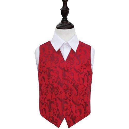 Burgundy Floral Wedding Waistcoat for Boys 34'