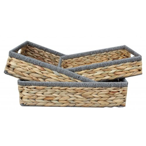 Shallow Rectangular Water Hyacinth With Grey Rope Border Storage Basket