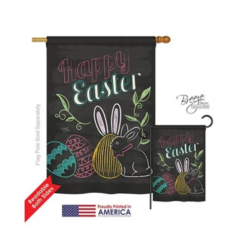 Breeze Decor 03054 Easter Colorful Easter Eggs 2-Sided Vertical Impression House Flag - 28 x 40 in.