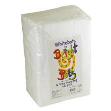 Bright Bots Pack of 12 White Terry Nappies - Whitebots