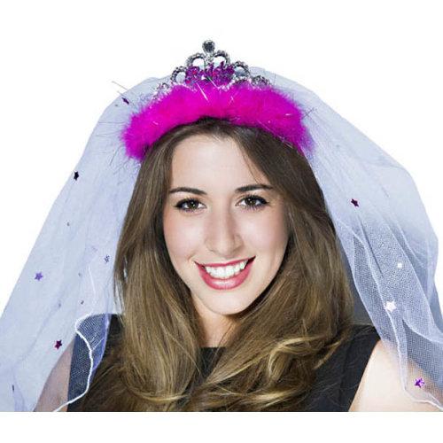 Alandra Bride To Be Tiara & Veil With Felt Logo - Hen Party Night Accessories -  bride veil hen party tiara night accessories