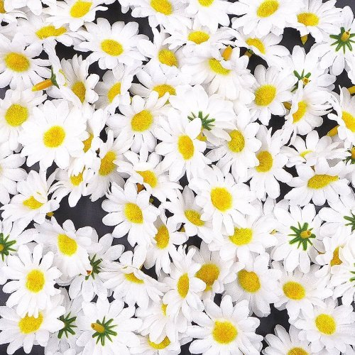 JZK® 100 x Artificial White Craft Daisy Daisies Fabric Flowers Heads, Party Wedding Table scatters Confetti Scrapbook Accessory Invitation Card...