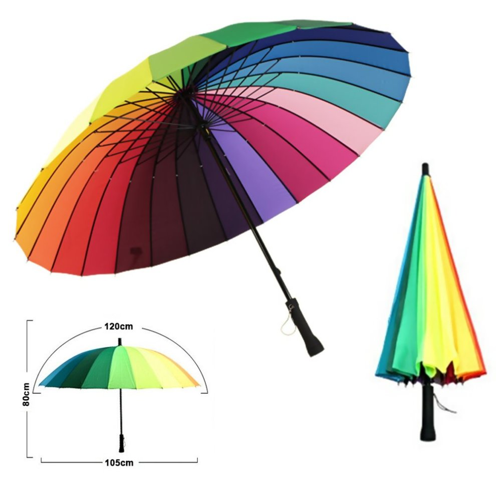 8e127368acb18 MENGCORE 24k Rib Large Color Rainbow Umbrella Fashion Long Handle Straight  Anti-UV Sun/Rain Stick Umbrella Manual Big Parasol (Manual) on OnBuy