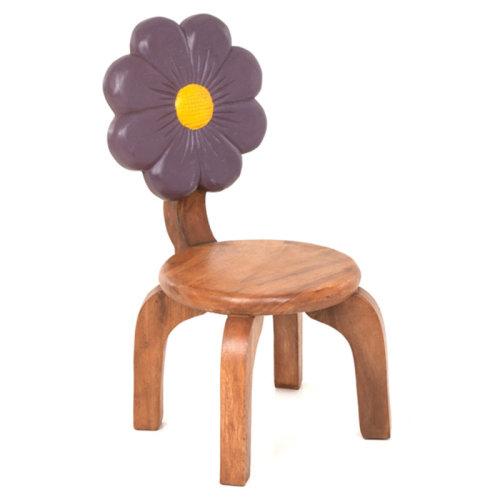 Wooden Purple Flower Chair