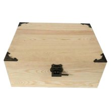 Creative Retro Lock With Wooden Box Desktop Rectangle Storage Box-Log