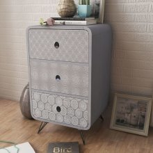 Side Cabinet with 3 Drawers Grey