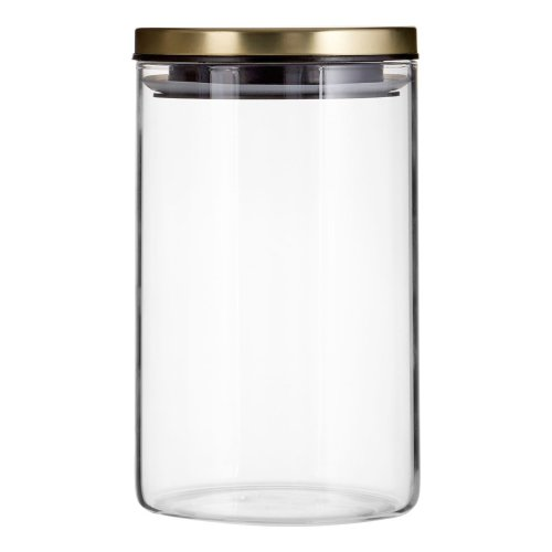 Freska Clear Glass Storage Jar With Metal Gold Lid, 950ml