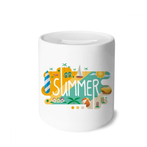 Summer Season Illustration Money Box Saving Banks Ceramic Coin Case Kids Adults