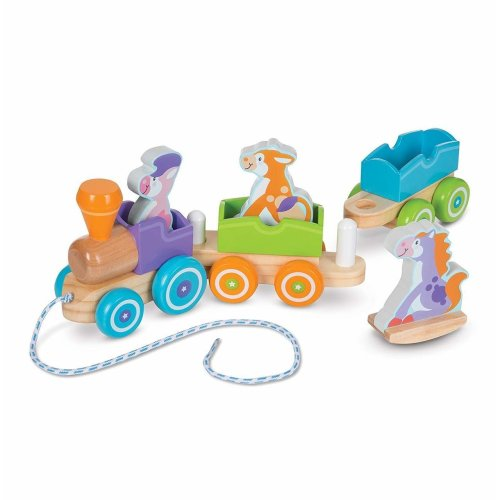 Melissa and Doug Wooden Rocking Farm Animals Pull Train | First Play Toy