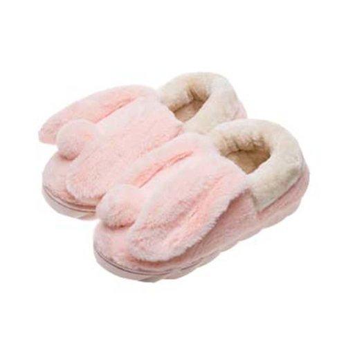 Cute Cartoon Rabbit Plush Slippers Winter Warm Indoor Slippers for Women,PINK