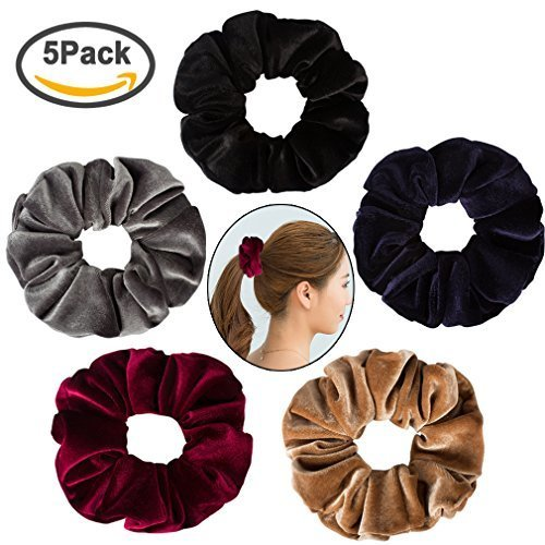 SuPoo 5 Pieces Large Velvet Scrunchies Hair Scrunchy Soft Elastics Bobbles Soft Hair Bands Hair Ties Ponytail Holder for Women and Girls, 5 Colors