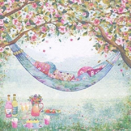 4 x Paper Napkins - Garden Hammock - Ideal for decoupage / Napkin Art