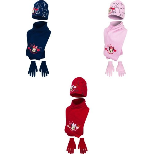 Disney Minnie Mouse Childrens Girls Winter Hat, Scarf And Gloves Set