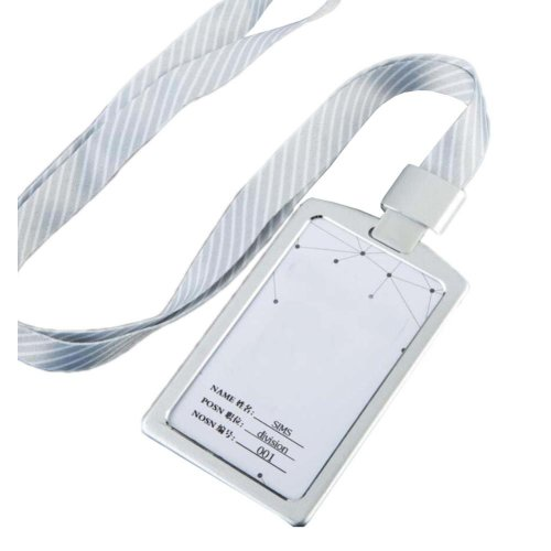 Aluminum Alloy Vertical Style ID Card Badge Holder with Neck Lanyard Strap 3PCS, 35