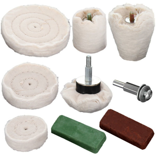 9PC Polishing Kit Goblet Cylinder Dome Mop Buffing Wheel Compound red/green UK