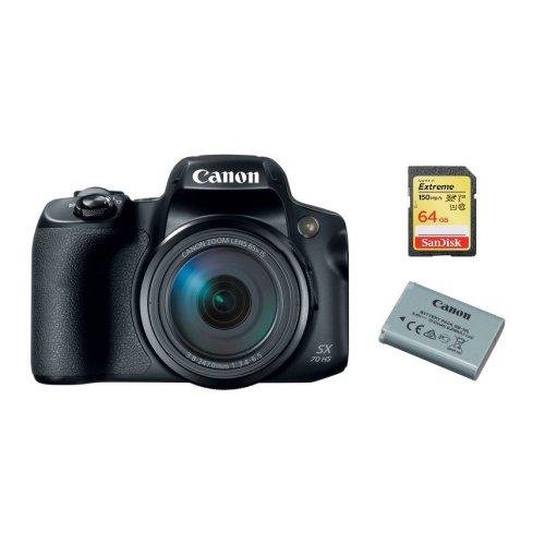 CANON PowerShot SX70 HS Black + 64GB SD card + LP-E12 Battery