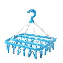 Plastic Clothespins Clothesline Drying Hanger Rack With 40 Clips,64 X 34 CM,Blue