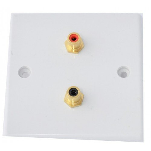White Slimline 2 x RCA Phono Audio Surround Sound Wall Face Plate - Rear Solder tab Connections
