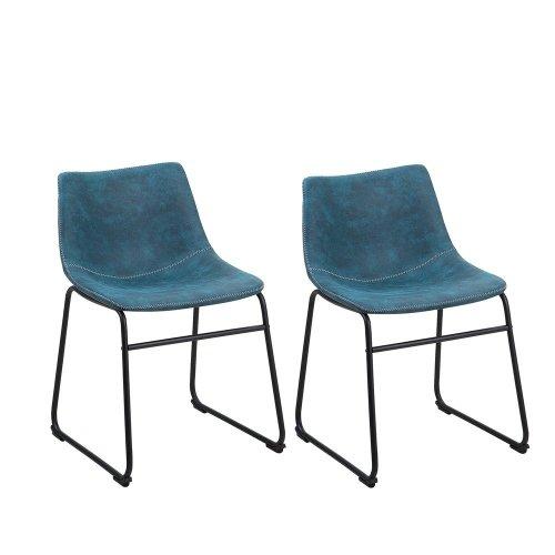 Set of 2 Fabric Dining Chairs Blue BATAVIA