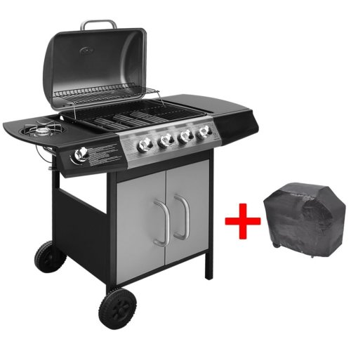vidaXL Gas Barbecue Grill 4+1 Burners Black and Silver