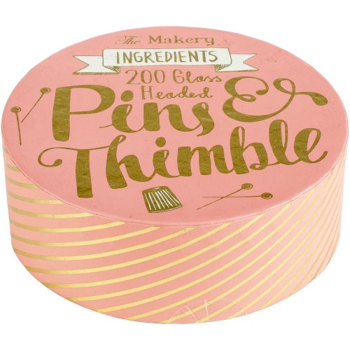 The Makery Pins & Thimble-Steel Thimble & Glass Head Pins 200/Pkg