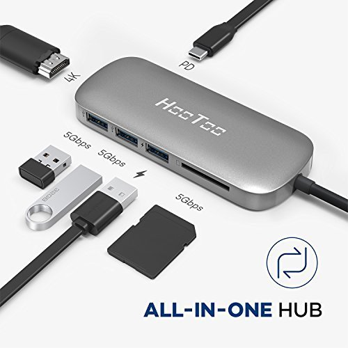 HooToo USB C Hub 6 in 1 Premium USB C Adapter with Type C Charging Port 4K HDMI Card Reader 3 x USB 3 0 Ports for MacBookProAir
