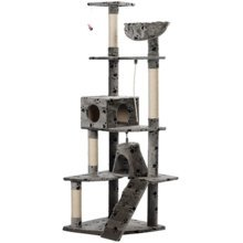 Cat Play Tree 191 cm Grey with Paw Prints