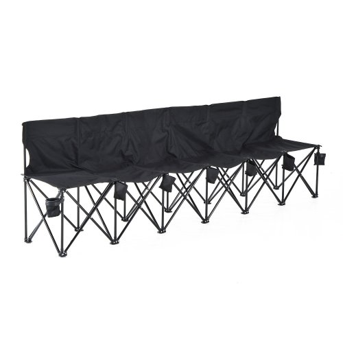 Outsunny 6 Seat Folding Camping Multi Deck Chair Black W/ Cup Holder & Carry Bag