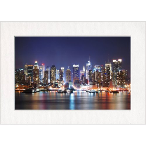 New York City at Night Print in a Textured Card Picture Mount to put into your own frame