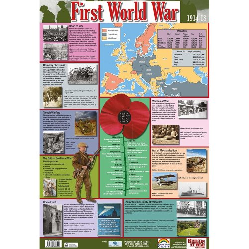 FIRST WORLD WAR / WORLD WAR 1 History Poster / Wallchart - SCHOOL HISTORY RESOURCE Poster / Wall Chart - 60cm x 40cm