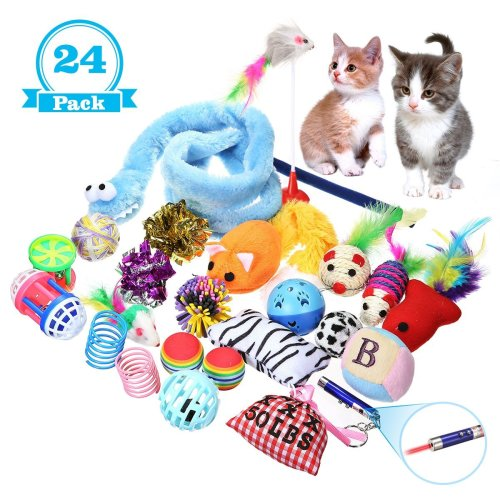 Focuspet Cat Toys Variety Pack, 24 Pcs Cat Kitten Interactive Catnip Mouse Toys Set Including Multicolor Mice, Balls, Bells, Feathers, Wand for...