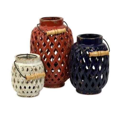 Home Decor Improvements 69249-3 Bailey Lattice Lanterns - Set of 3